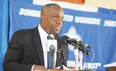 UWP party leader Lennox Linton speaks at the press conference