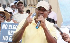 President of the Concerned Citizens Movement Loftus Durand speaks at a CCM rally