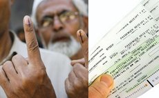Men with voting ink on fingers; airline ticket