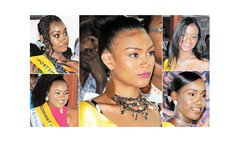 Miss Teen Dominica pageant contestants: Centre, Ellisa James; bottom left, Jorjanna Albert; top left, Nzinga Colaire; top right, Davina Graneau; bottom right, Syan Davis