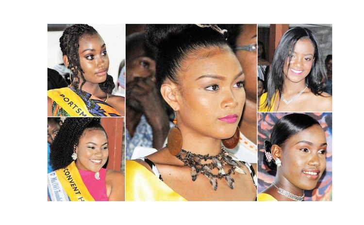 Miss Teen Dominica pageant contestants: Centre, Ellisa James; bottom left, Jorjanna Albert; top left, Nzinga Colaire; top right, Davina Graneau; bottom right, Syan Davis