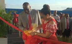 Mr aand Mrs Skerrit cuts ribbon at the formal opening of the new hospital