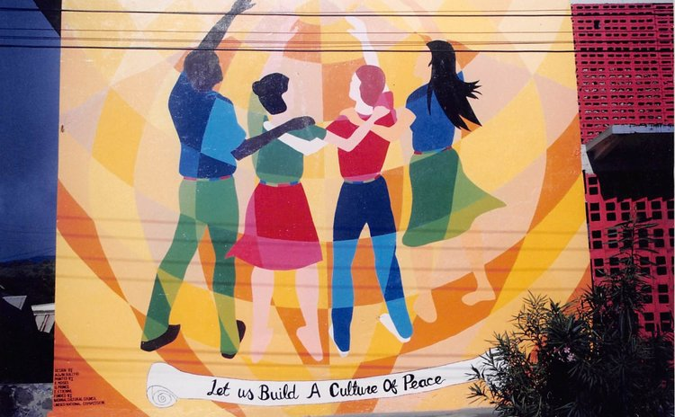 Culture of Peace Mural on wall of All Saints University on Great George Street