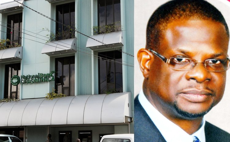 National Bank of Dominica headquarters and Anthony John , NBD chairman