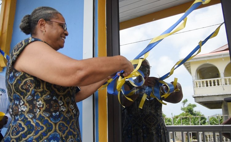 Mrs Josephine Dublin, NCCU president, cuts the ribbon