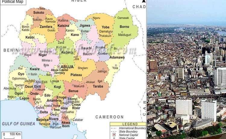 Map of Nigeria and Lagos, Nigeria's capital