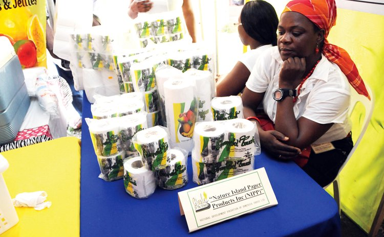 Worker at the Nature Island Paper Product booth at the 2015 Creole in the Street expo