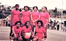 MICHELLE S, one of the pioneer women's basketball teams; early 1980s. Courtesy C. Severin-Abraham