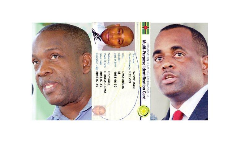 Opposition leader Lennox Linton, left, sample of national ID card  and Prime Minister Roosevelt Skerrit