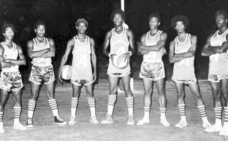 Original Raiders team at Windsor Park court cerc. 1974. From L-R: Arlington James, Charles James, Glen John, Alphonso Ettienne, Adolphus David, David Winston and Michael Freeman
