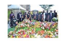 Members of PJ's family at his graveside