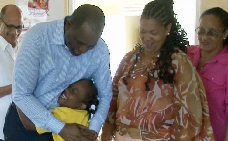 Prime Minister Skerrit greets members of the Alpha Centre