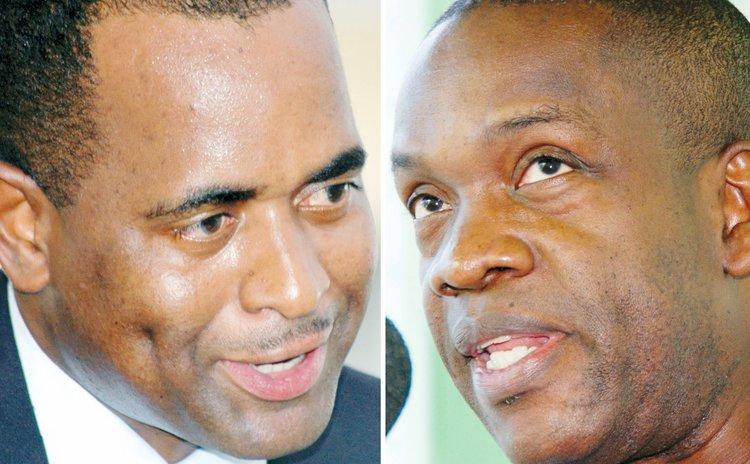 Prime Minister Roosevelt Skerrit, left, and UWP political leader Lennox Linton