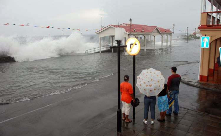 Wavesbatter Roseau Bayfront during Hurricane Omar
