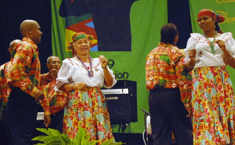 Petite Savanne Cultural Group performs at the 2009 Golden Drum Awards ceremony at the Arawak House of Culture