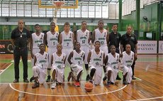 Dominica's team at CBC U16 Championships, Guyana, 2016. Sherquan               Jno. Baptiste kneeling, far right (#14).