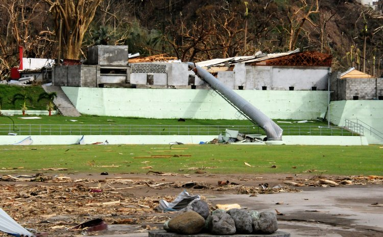 Debris iat Windsor Park Sports Stadium after Maria