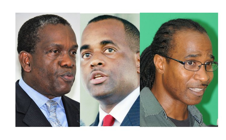 Political leaders: Linton (UWP), Skerrit (DLP) and Vital (DFP)