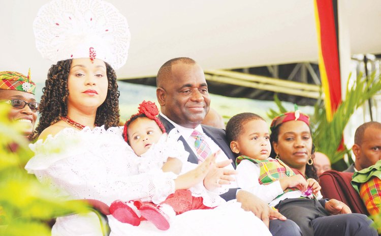 Prime Minister Skerrit and family at an independence event