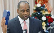 Prime Minister Roosevelt Skerrit takes the oath of office