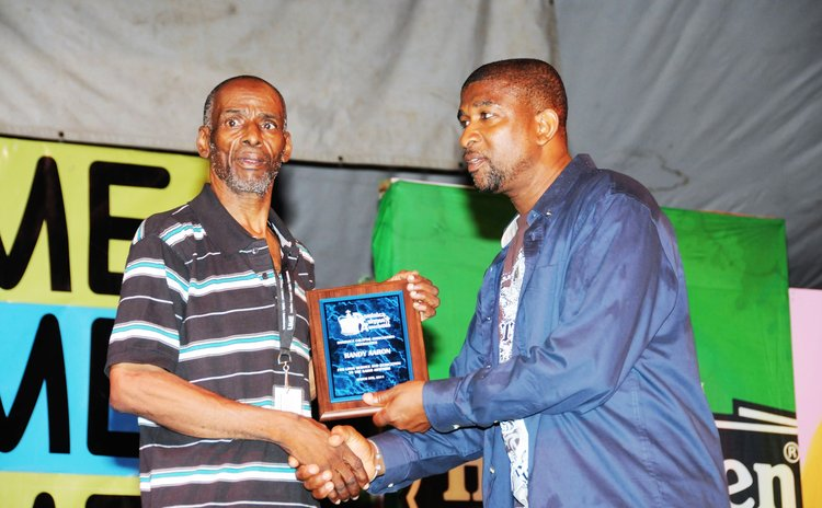 In 2011 the Dominica Calypso Association honored Randy Aaron ,left, for long and dedicated service to the art form