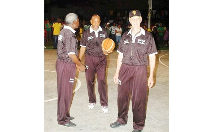 Three-man team of Referees, Allan Morris (L), McDonald Bethel (C) and Jeff Douglas-Murdock, 2016. Photo Courtesy DABA Facebook Page