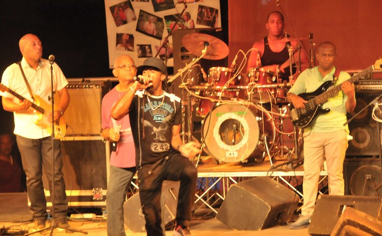 Refuse, extreme right, at the Mama Creole show in May 2019