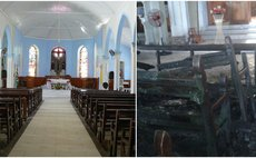 Pointe Michel church before and after the fire