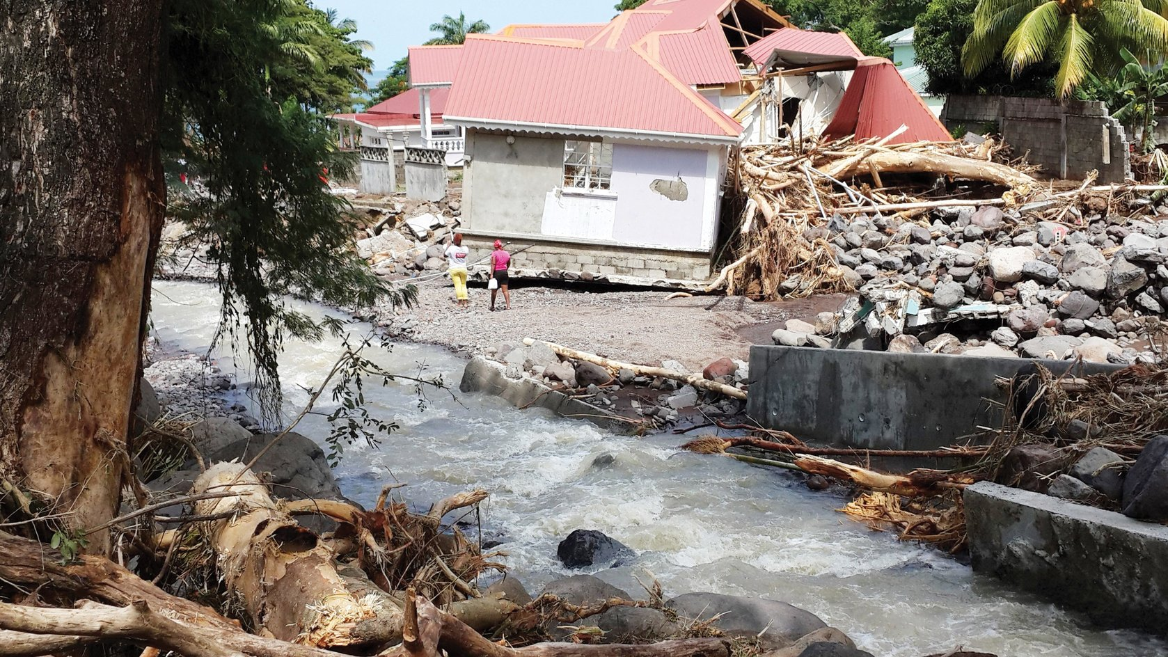 Effects of Tropical Storm Erika at Massacre