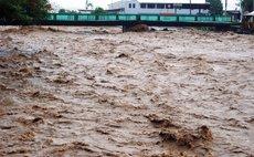 Swollen Roseau River during Hurricane Dean