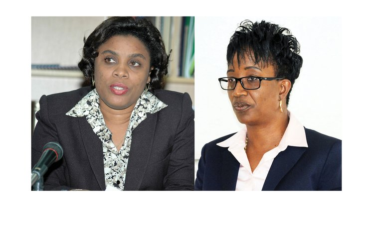 New and former Financial Secretary: Denise Edwards, right, and Rosemond Edwards