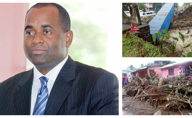 PM Skerrit and photos of flood damage