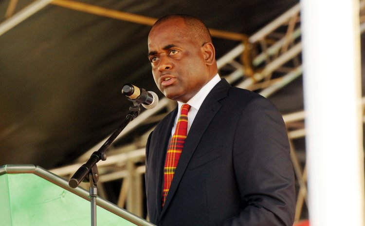 Roosevelt Skerrit speaks at a meeting in the Kalinago territory