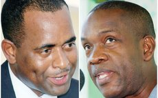 Prime Minister Skerrit , left, and Leader of the Opposition Lennox Linton
