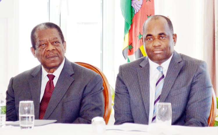 FILE PHOTO: Sir Dennis Byron and Prime Minister Roosevelt Skerrit at a CCJ function in 2015