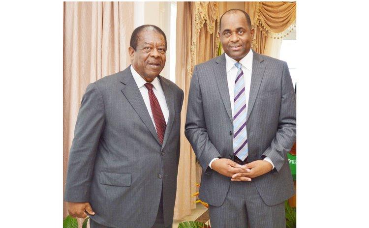 Former CCJ president Sir Denis Byron and Prime Minister Skerrit in 2015