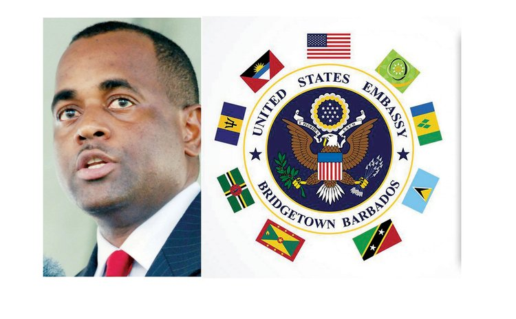PM Skerrit,left, and US Embassy logo