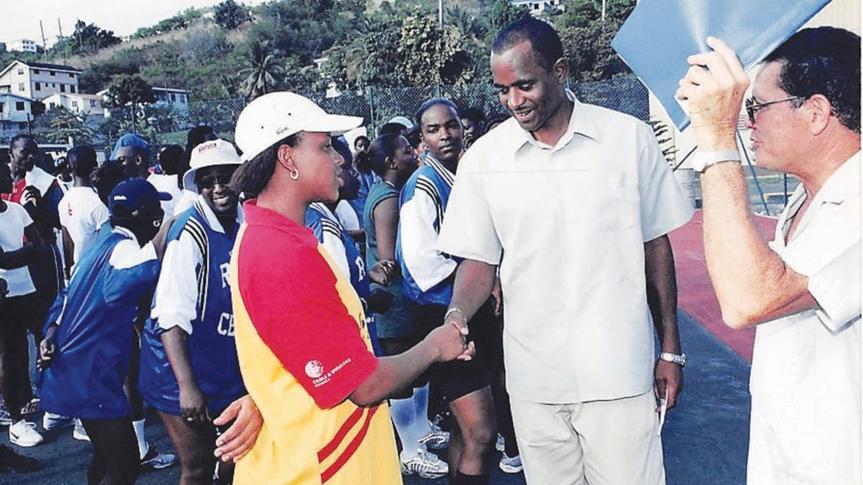 Skerrit as Sports Minister; Rupert Sorhaindo, extreme right (ca 2000)
