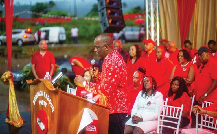 Prime Minister Skerrit speaks at one of the DLP rallies in 2019