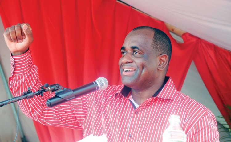 Prime Minister Roosevelt Skerrit on the campaign platform in Pointe Michel