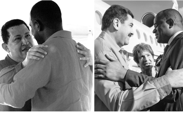 Left: Skerrit hugs Chavez and right , Skerrit with Maduro