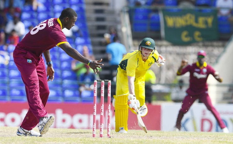 West Indies vs Australia: Smith safe after run out attempt