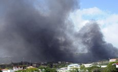 Smoke darkens sky at Goodwill