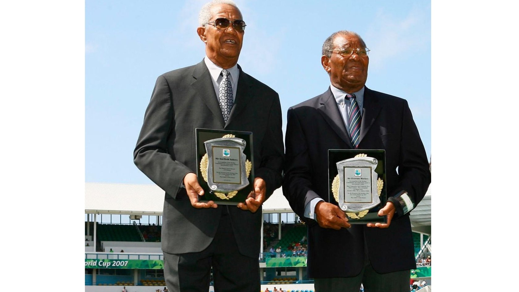 Weeks, right, and Sobers