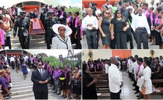 Relatives, friends and colleagues attend the funeral service of Dr. Phillip St. Jean