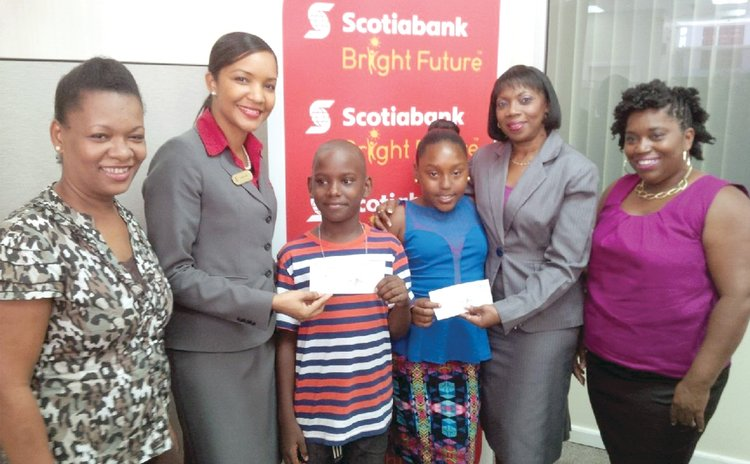 Parents, scholarship winners and staff of Bank of Nova Scotia
