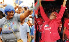 Political images: UWP, left, and DLP- people at the political rallies