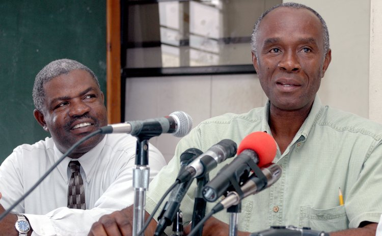 Swanston Carbon, right, and Johnson Boston at a Dominica Freedom  Party meeting