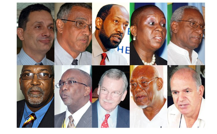 Members of the Task Force: From top, left to right: Yvor Nassief, Colin Bully, Alick Lawrence, Dr. Valda Henry, Edward Lambert, Gregory Shillingford, Eliud Williams, Aird, Johnson and Biscombe