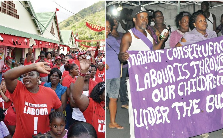 DLP,left, and UWP supporters campaign in the Soufriere Constituency